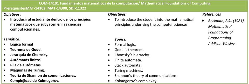 Teoría de Shannon de comunicaciones. Complejidad de Kolmogorov. To introduce the student into the mathematical principles underlying the computer sciences. Formal logic. Godel s theorem.