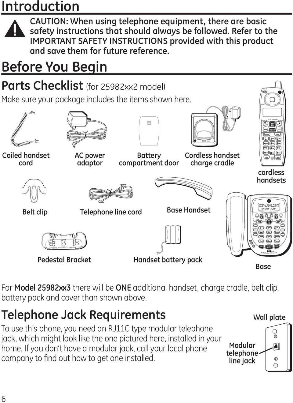 Before You Begin Parts Checklist (for 25982xx2 model) Make sure your package includes the items shown here.