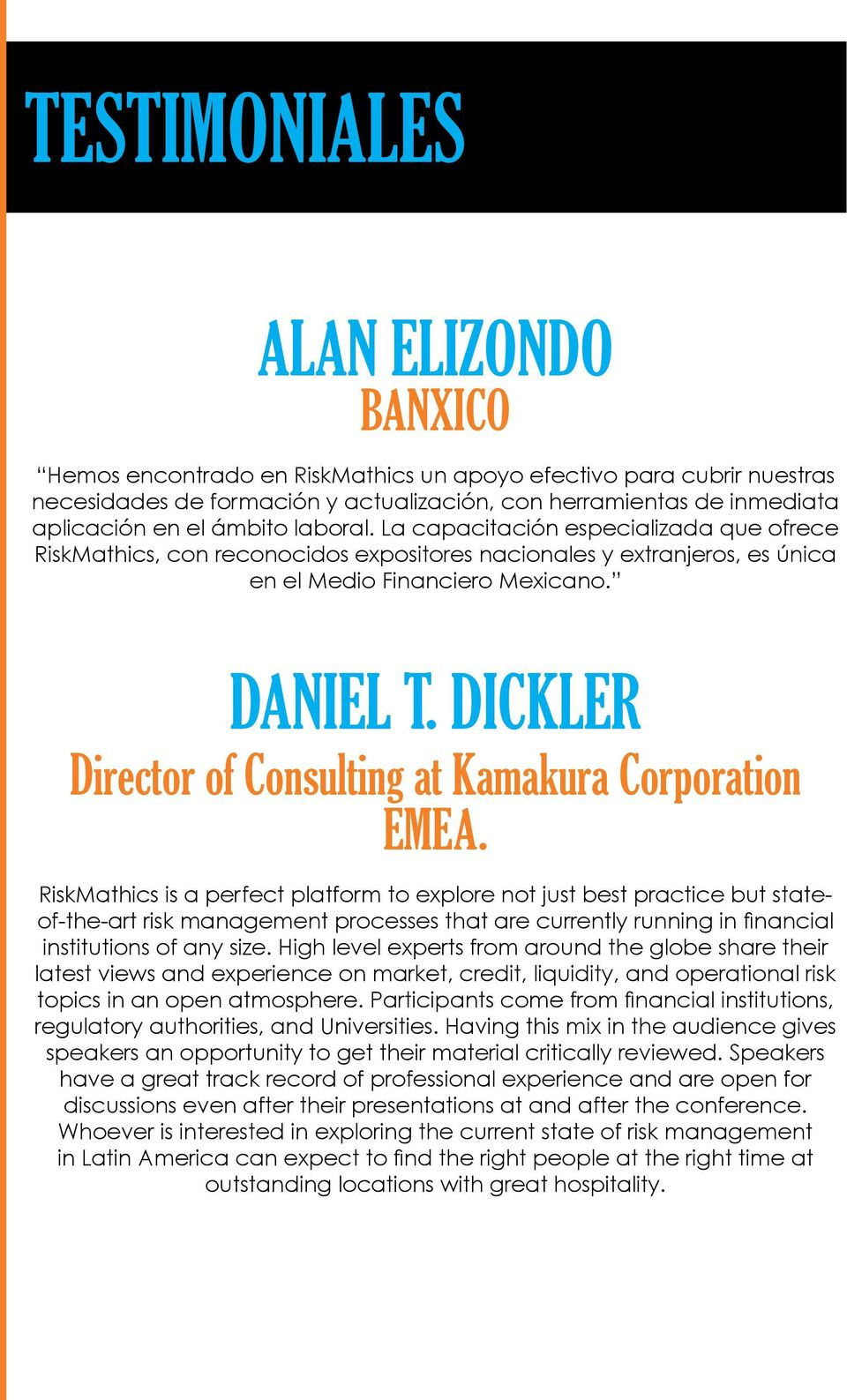 Dickler Director of Consulting at Kamakura Corporation EMEA.