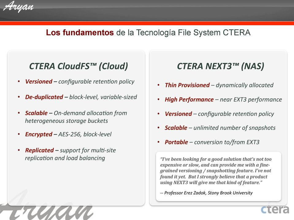on and load balancing CTERA NEXT3 (NAS) Thin Provisioned dynamically allocated High Performance near EXT3 performance Versioned configurable reten.