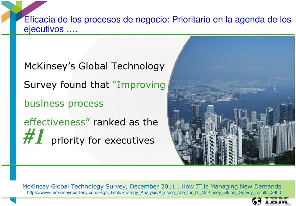 #1 priority for executives McKinsey Global Technology Survey, December 2011, How IT is Managing New