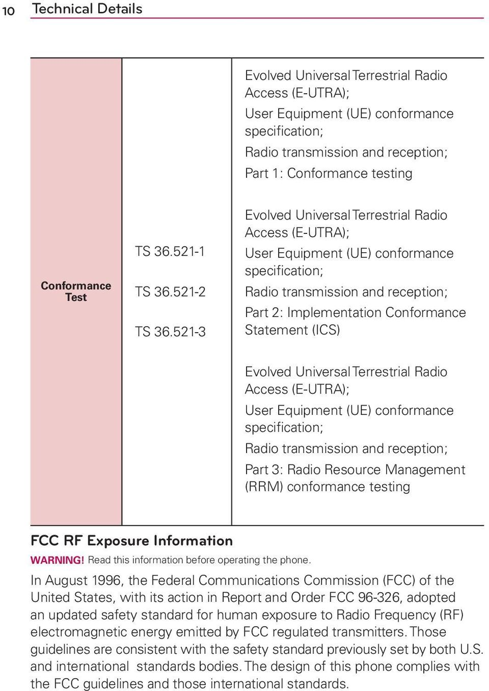 521-3 Evolved Universal Terrestrial Radio Access (E-UTRA); User Equipment (UE) conformance specification; Radio transmission and reception; Part 2: Implementation Conformance Statement (ICS) Evolved