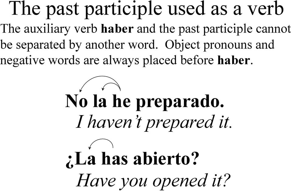 Object pronouns and negative words are always placed before haber.