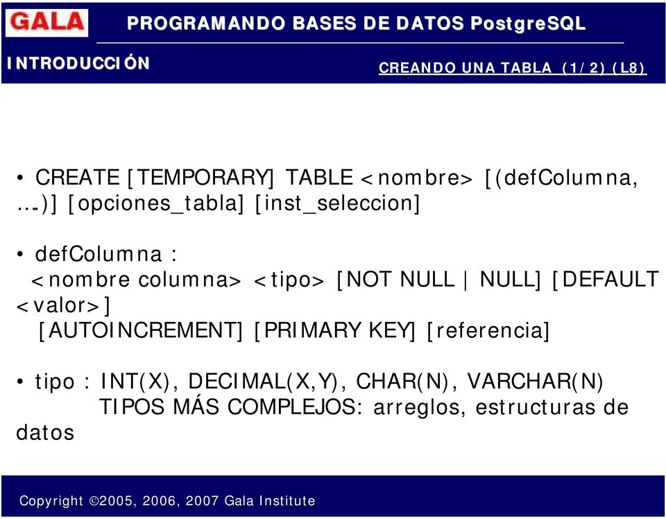 NULL NULL] [DEFAULT <valor>] [AUTOINCREMENT] [PRIMARY KEY] [referencia] tipo :
