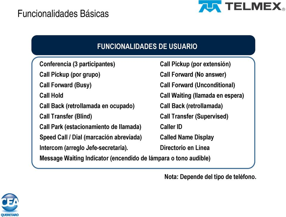(retrollamada) Call Transfer (Blind) Call Transfer (Supervised) Call Park (estacionamiento de llamada) Caller ID Speed Call / Dial (marcación abreviada)