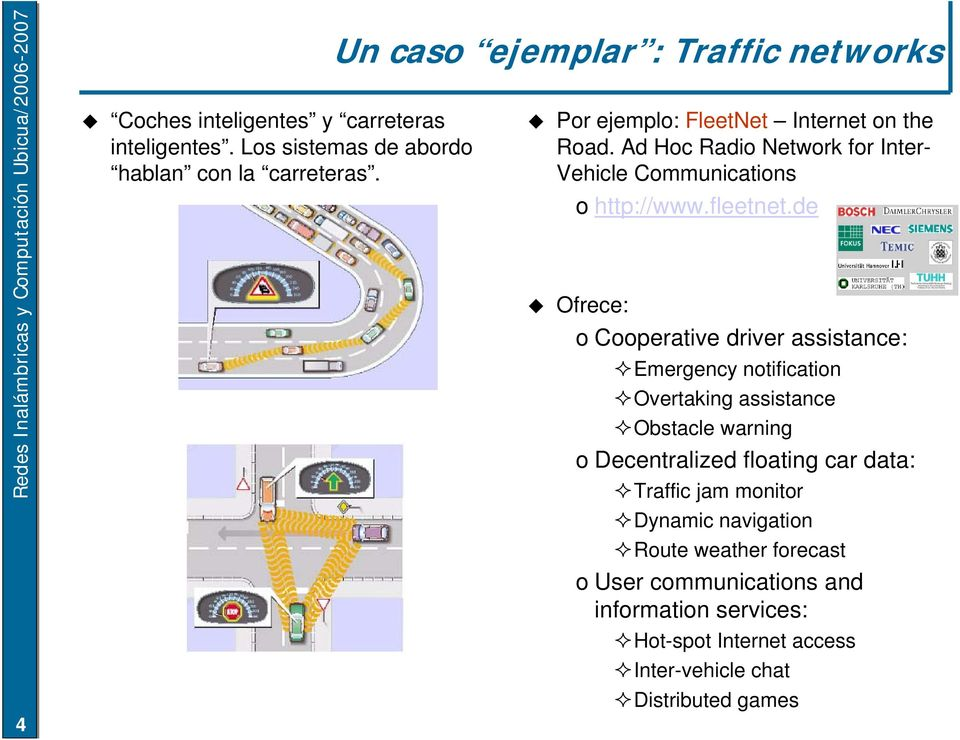 Ad Hoc Radio Network for Inter- Vehicle Communications o http://www.fleetnet.