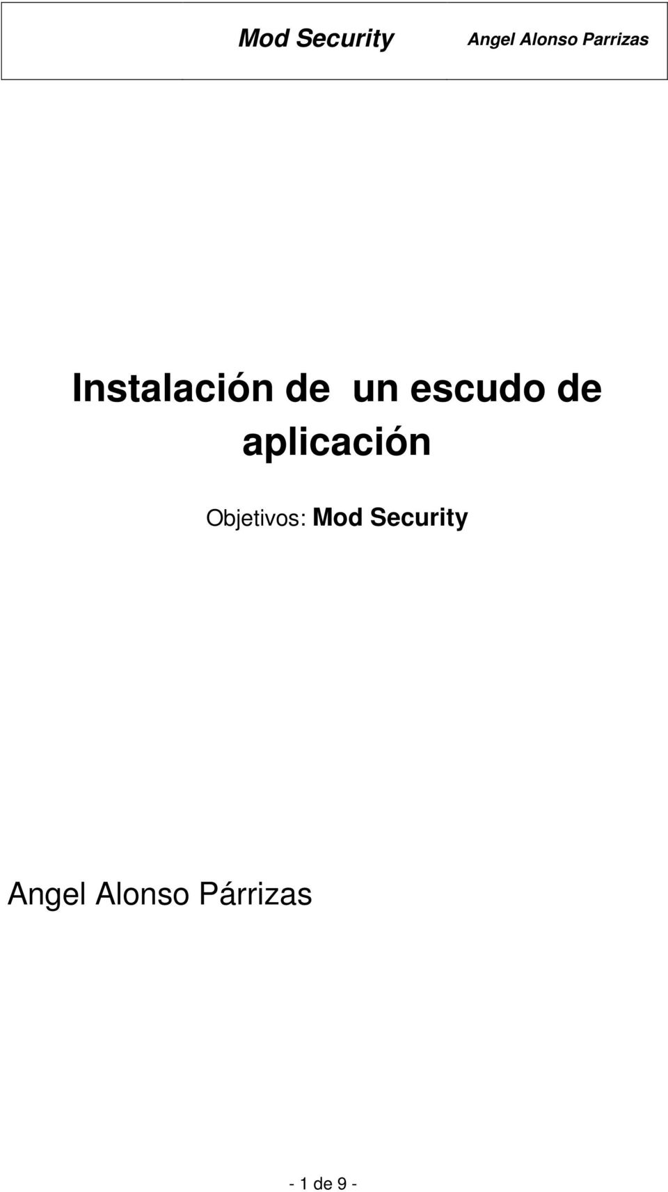 Objetivos: Mod Security