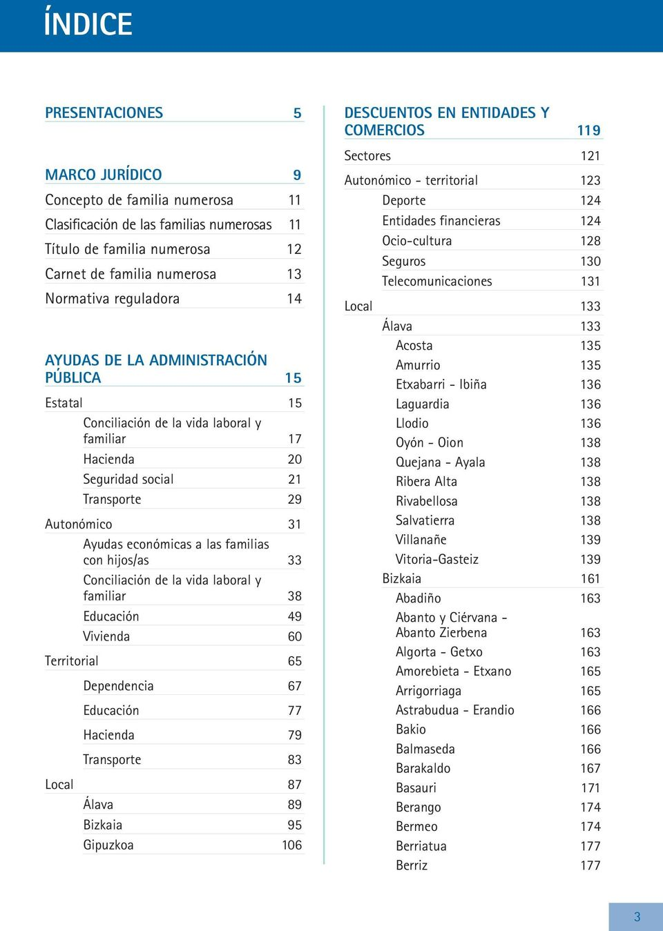 hijos/as 33 Conciliación de la vida laboral y familiar 38 Educación 49 Vivienda 60 Territorial 65 Dependencia 67 Educación 77 Hacienda 79 Transporte 83 Local 87 Álava 89 Bizkaia 95 Gipuzkoa 106
