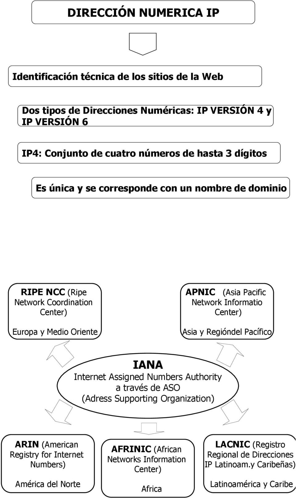 Informatio Center) Asia y Regióndel Pacífico IANA Internet Assigned Numbers Authority a través de ASO (Adress Supporting Organization) ARIN (American Registry for