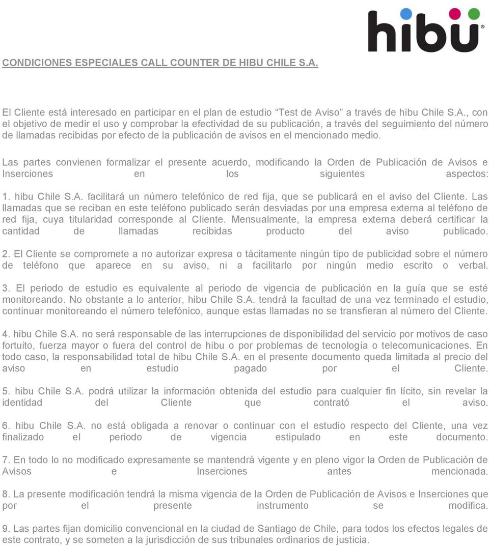 L COUNTER DE HIBU CHILE S.A.