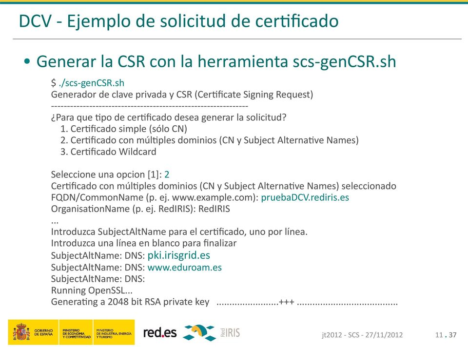 Certificado simple (sólo CN) 2. Certificado con múltiples dominios (CN y Subject Alternative Names) 3.