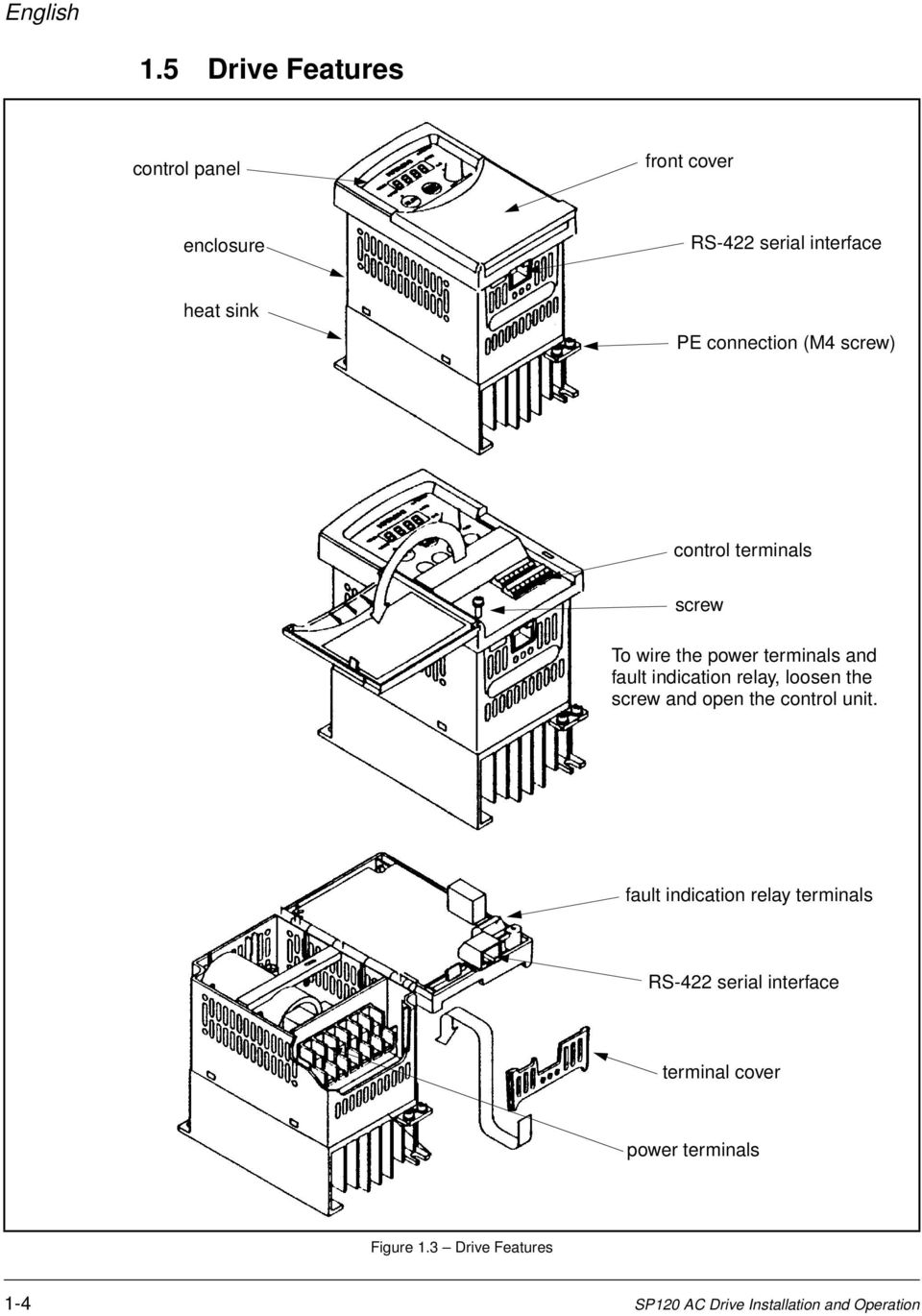 (M4 screw) control terminals screw To wire the power terminals and fault indication relay, loosen the