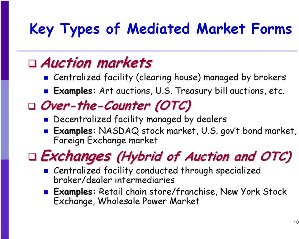 Over-the the-counter (OTC) Decentralized facility managed by dealers Examples: NASD