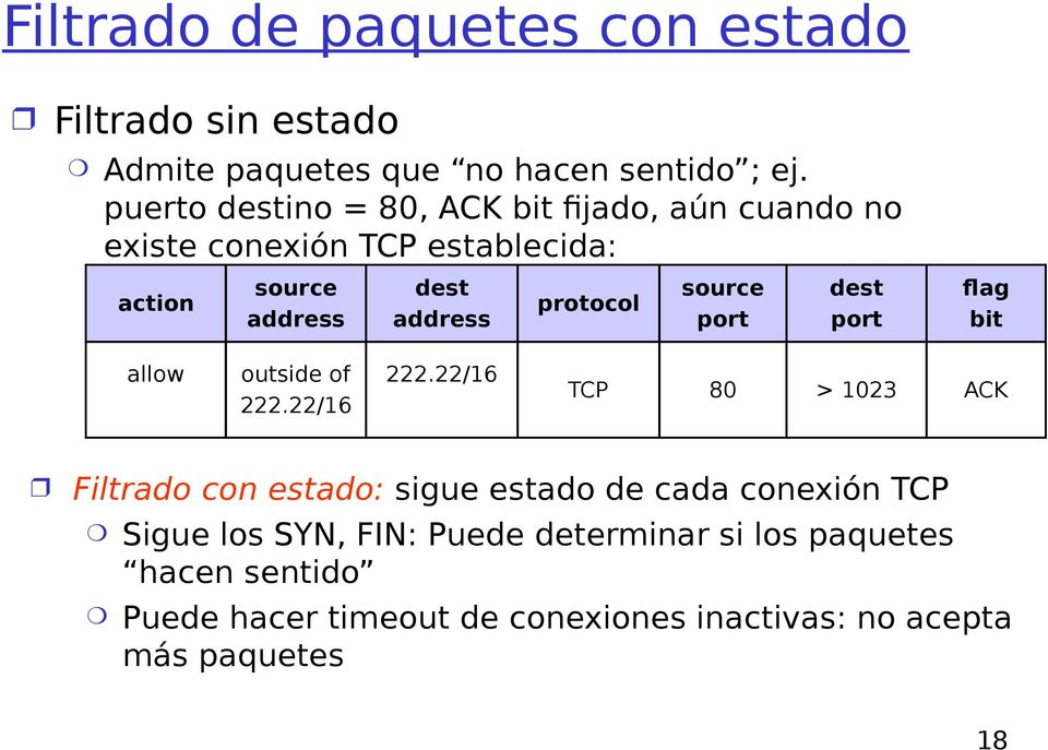 protocol source port dest port flag bit allow outside of TCP 80 > 1023 ACK Filtrado con estado: sigue estado de cada
