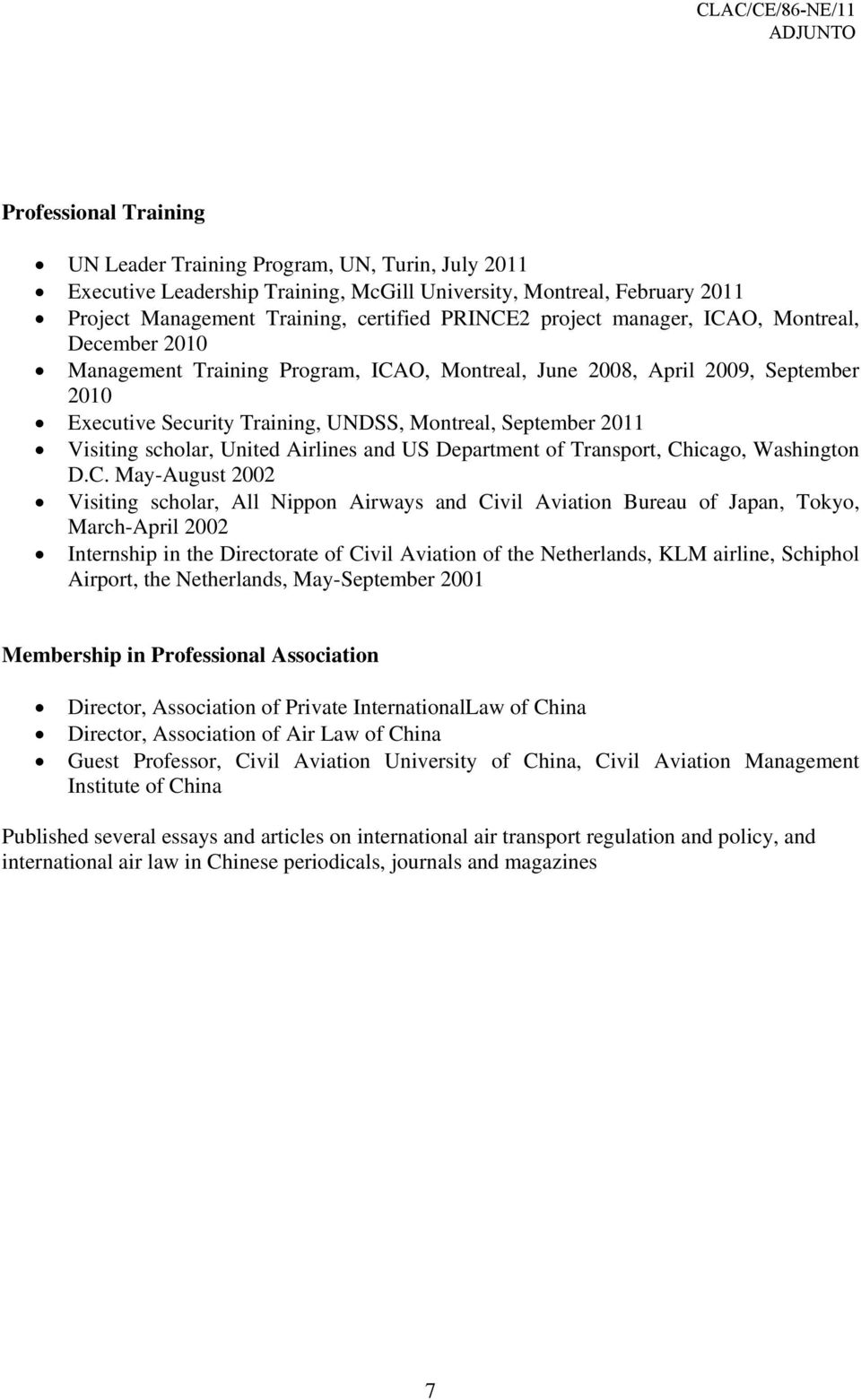 scholar, United Airlines and US Department of Transport, Ch
