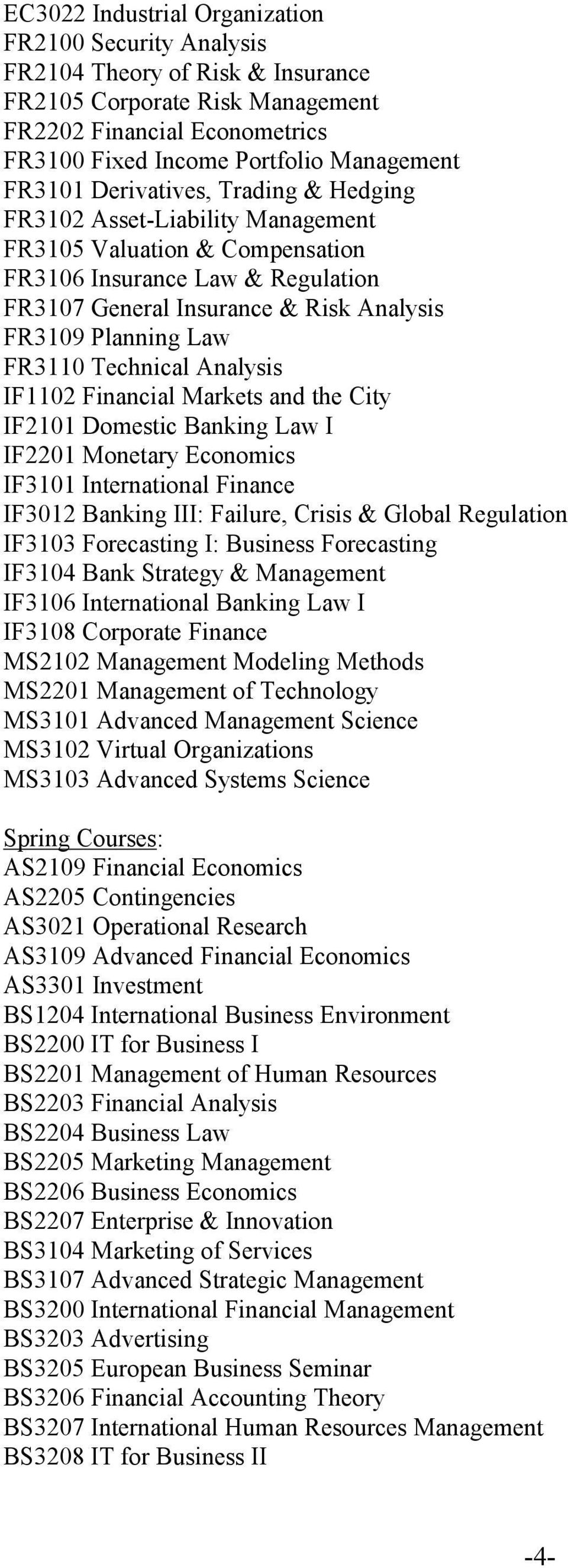 FR3110 Technical Analysis IF1102 Financial Markets and the City IF2101 Domestic Banking Law I IF2201 Monetary Economics IF3101 International Finance IF3012 Banking III: Failure, Crisis & Global