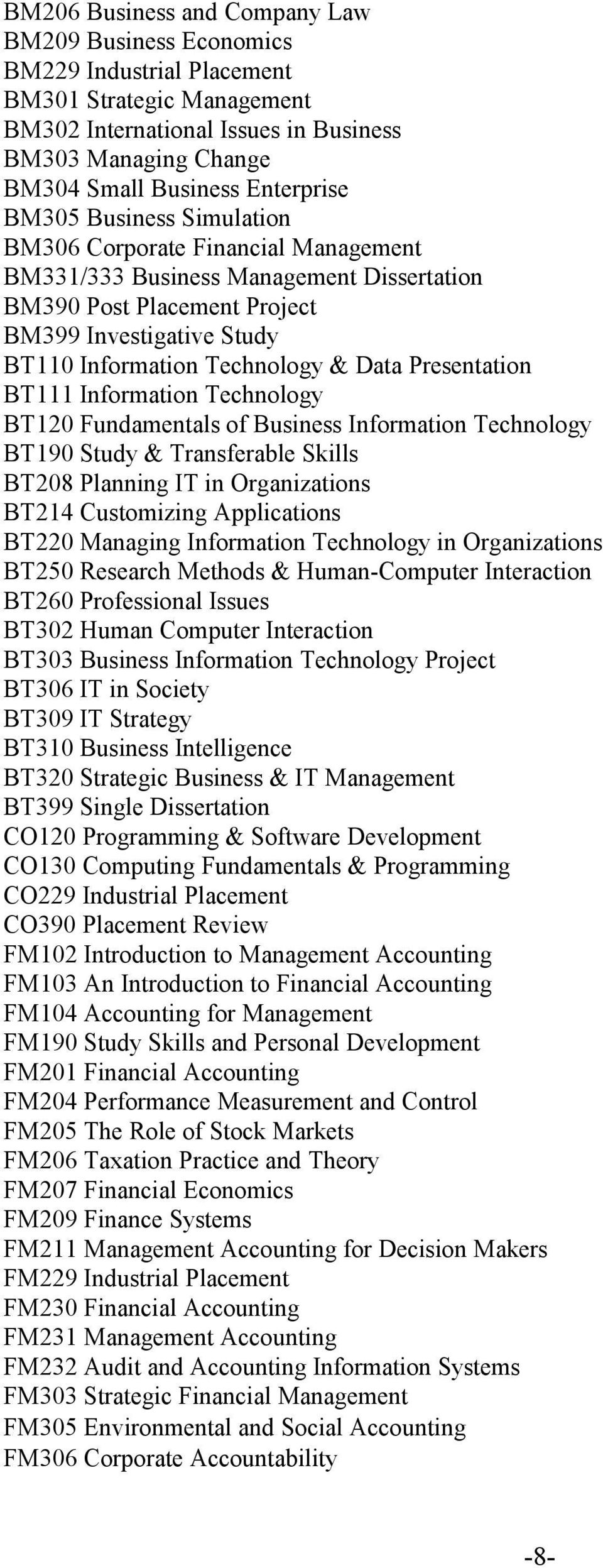 Technology & Data Presentation BT111 Information Technology BT120 Fundamentals of Business Information Technology BT190 Study & Transferable Skills BT208 Planning IT in Organizations BT214