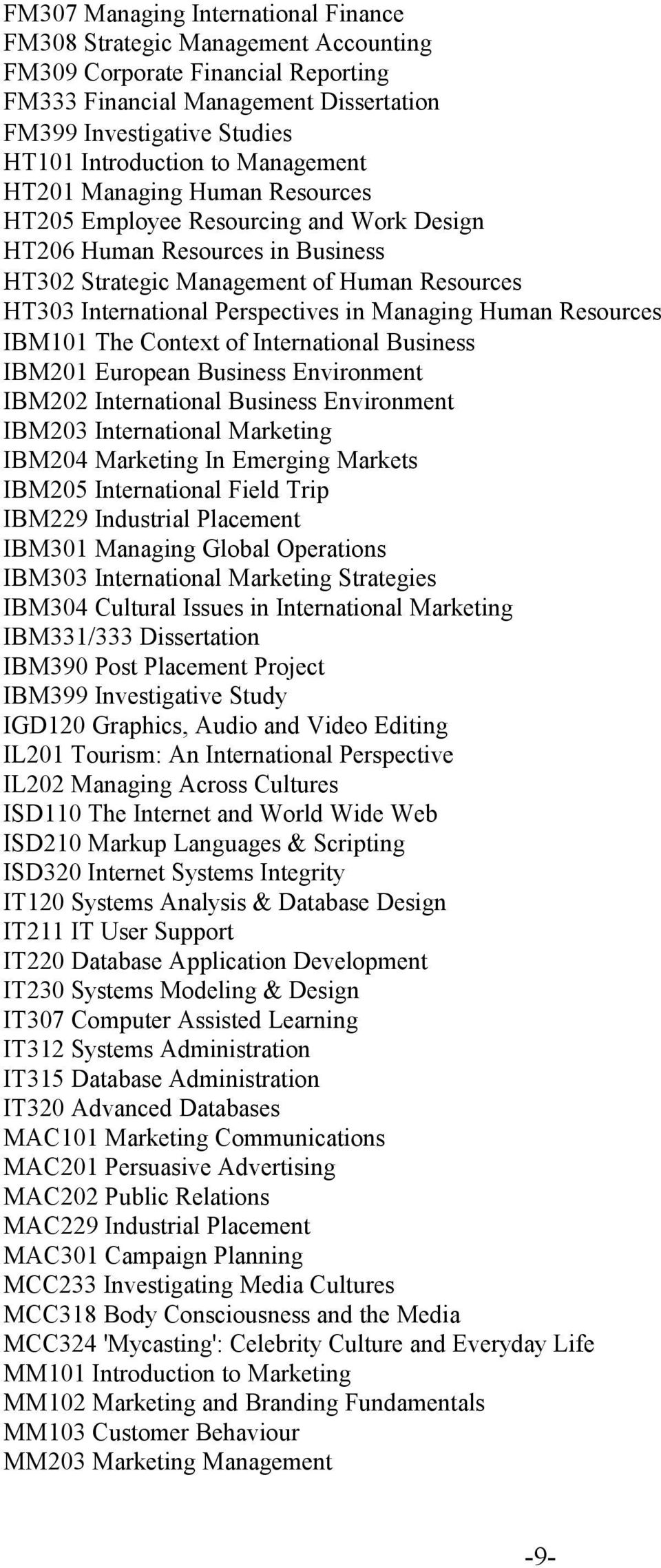 in Managing Human Resources IBM101 The Context of International Business IBM201 European Business Environment IBM202 International Business Environment IBM203 International Marketing IBM204 Marketing