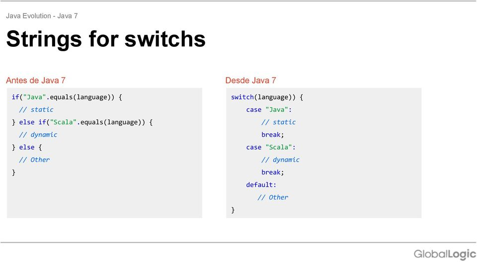 equals(language)) { // dynamic else { // Other Desde Java 7
