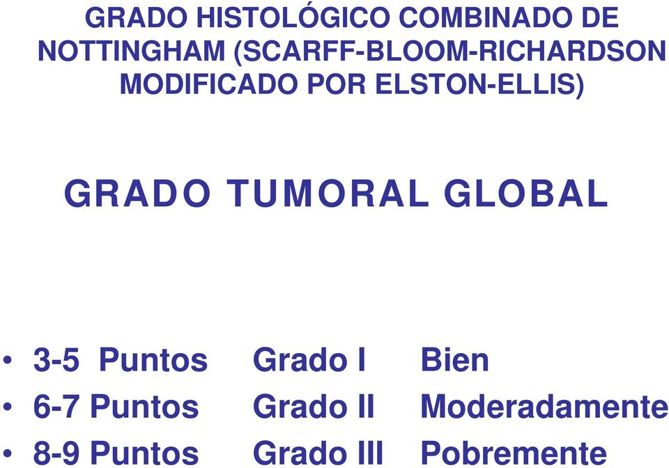 ELSTON-ELLIS) GRADO TUMORAL GLOBAL 3-5 Puntos Grado