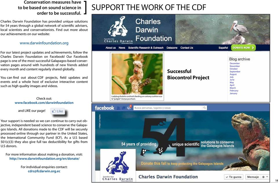 Find out more about our achievements on our website: www.darwinfoundation.org For our latest project updates and achievements, follow the Charles Darwin Foundation on Facebook!