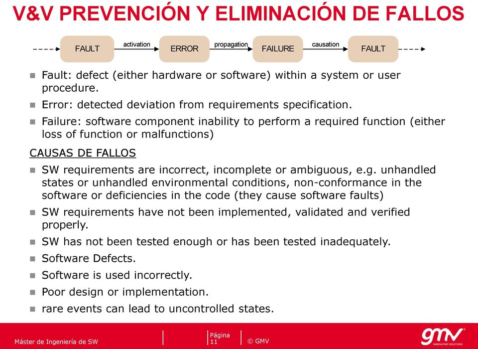 Failure: software component inability to perform a required function (either loss of function or malfunctions) CAUSAS DE FALLOS SW requirements are incorrect, incomplete or ambigu