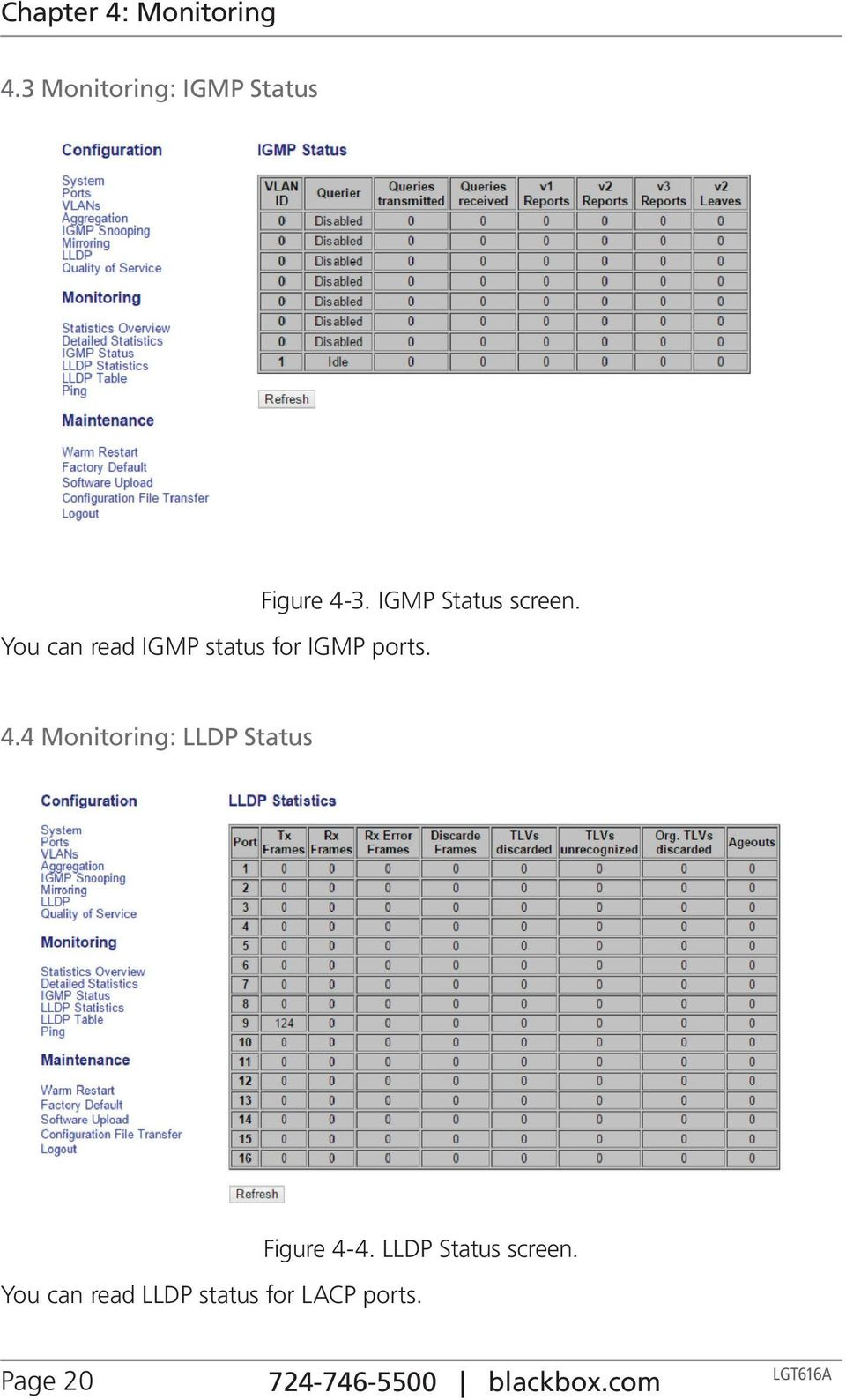 4 Monitoring: LLDP Status Figure 4-4. LLDP Status screen.