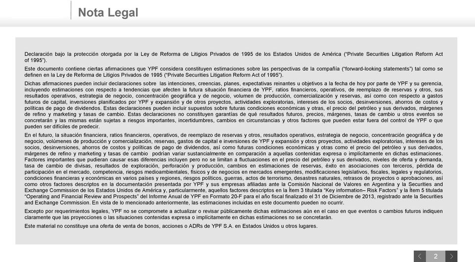 de Litigios Privados de 1995 ( Private Securities Litigation Reform Act of 1995 ).