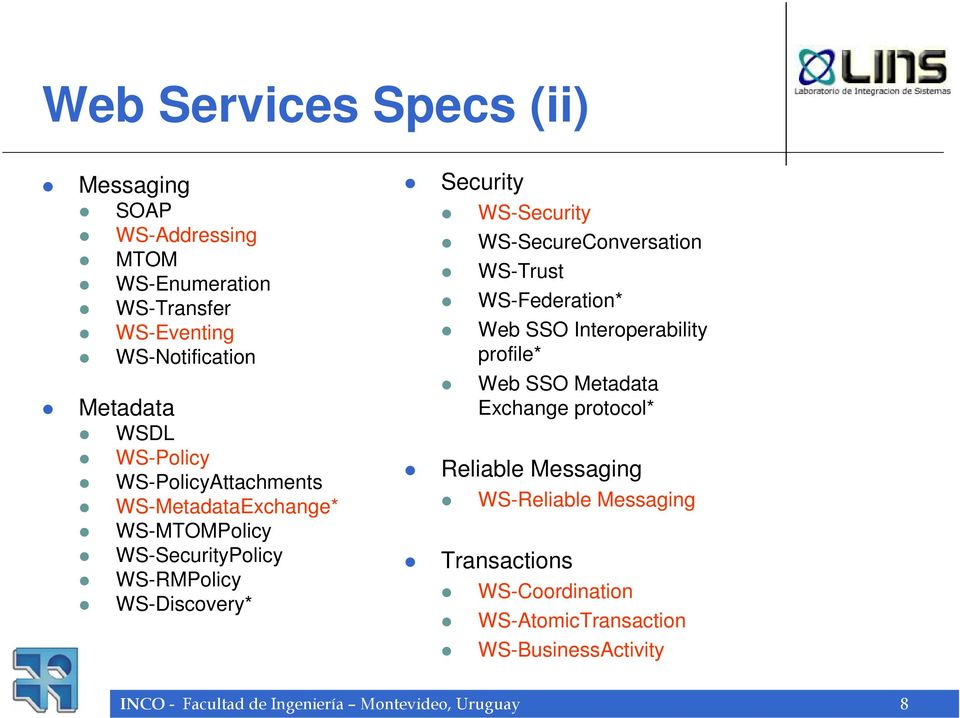 WS-SecureConversation WS-Trust WS-Federation* Web SSO Interoperability profile* Web SSO Metadata Exchange protocol* Reliable