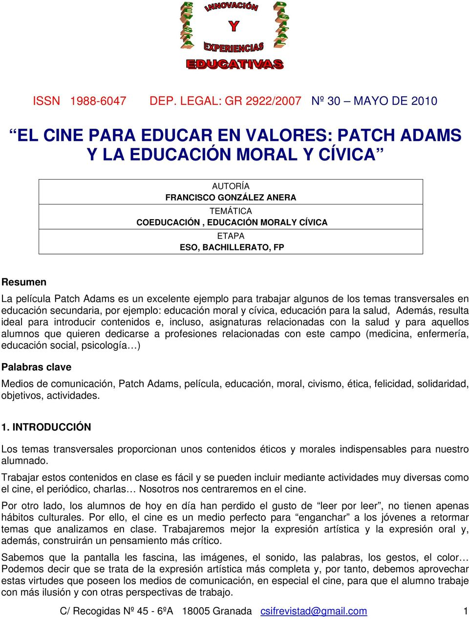 EL CINE PARA EDUCAR EN VALORES: PATCH ADAMS Y LA EDUCACIÓN MORAL Y ...