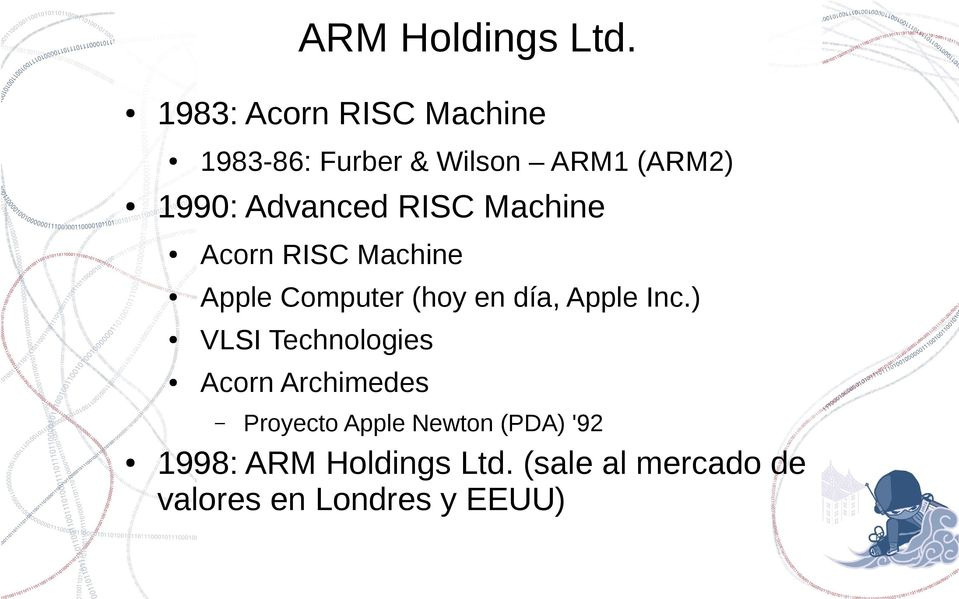 Advanced RISC Machine Acorn RISC Machine Apple Computer (hoy en día, Apple