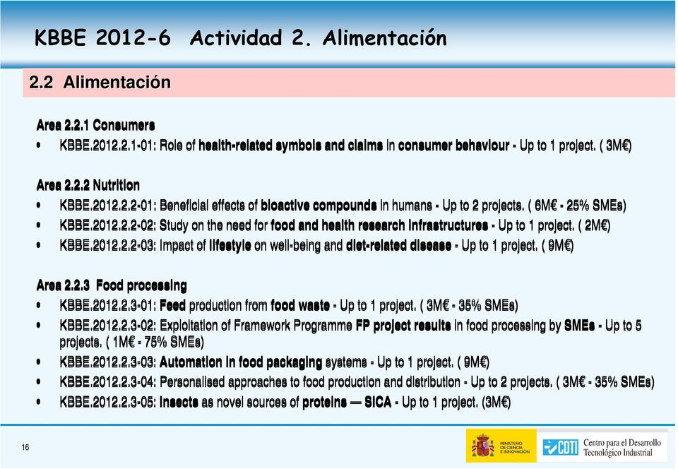 ( 2M ) KBBE.2012.2.2-03: Impact of lifestyle on well-being and diet-related disease - Up to 1 project. ( 9M ) Area 2.2.3 Food processing KBBE.2012.2.3-01: Feed production from food waste - Up to 1 project.