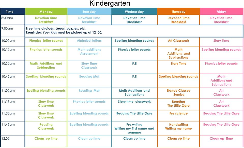10:00am Phonics letter sounds Alphabet letters Spelling blending sounds Art Story Time 10:10am Phonics letter sounds additions Assessment 10:30am Additions and Subtraction Story Time Phonics letter