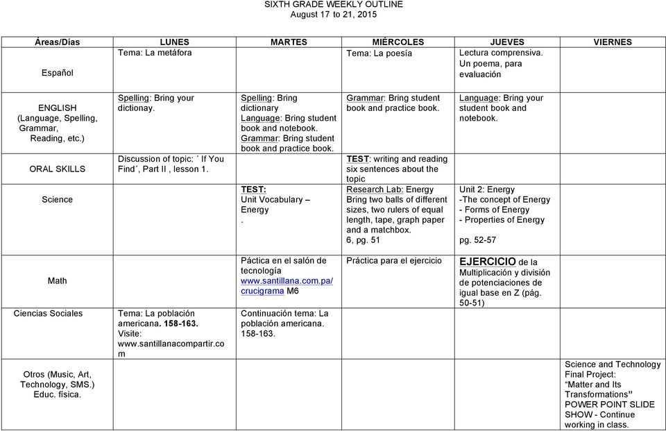 TEST: Unit Vocabulary Energy. Grammar: Bring student book and practice book.