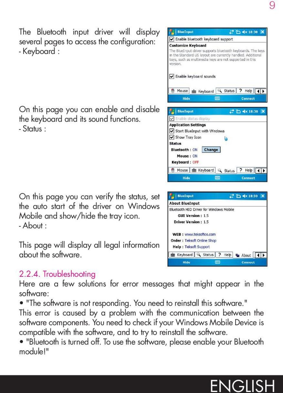 - About : This page will display all legal information about the software. 2.2.4.