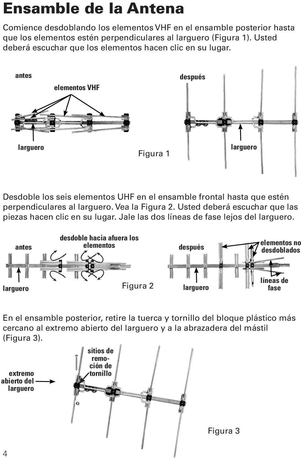 Before antes VHF elementos Elements VHF después After larguero Boom Figura 1 larguero Boom Desdoble los seis elementos UHF en el ensamble frontal hasta que estén perpendiculares al larguero.