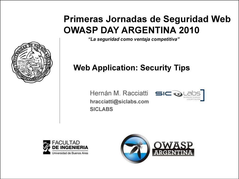 competitiva Web Application: Security Tips