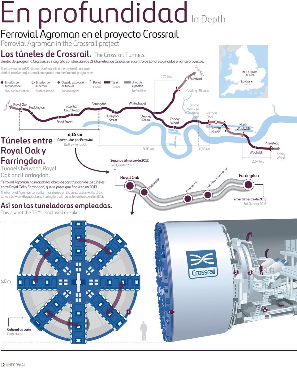 The construction of 21 kilometres of tunnels in the centre of London is divided into five projects and is integrated into the Crossrail programme.