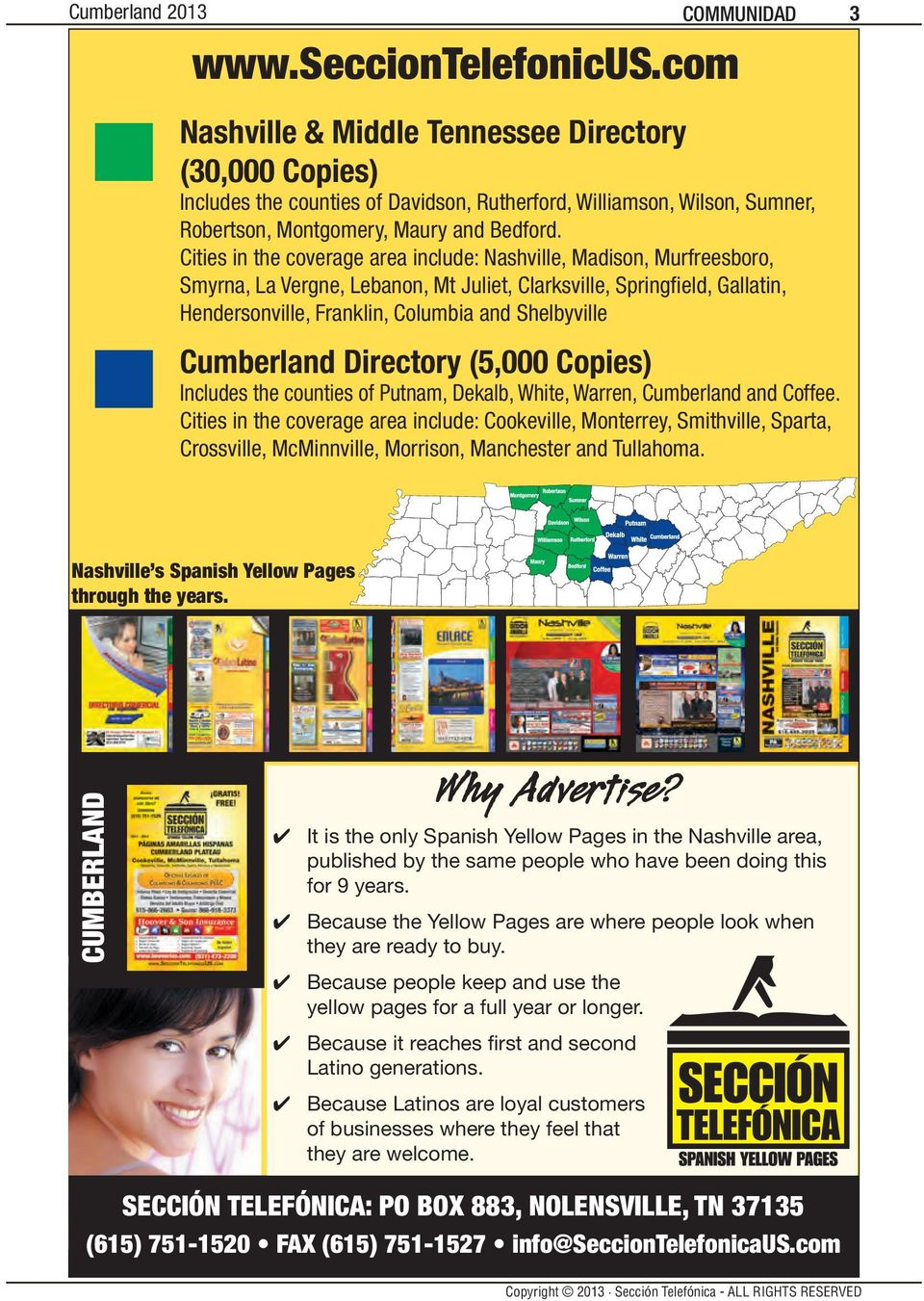 Cumberland Directory (5,000 Copies) Includes the counties of Putnam, Dekalb, White, Warren, Cumberland and Coffee.