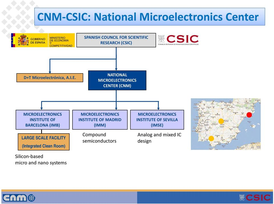 BARCELONA (IMB) LARGE SCALE FACILITY (Integrated Clean Room) Silicon based micro and nano systems MICROELECTRONICS