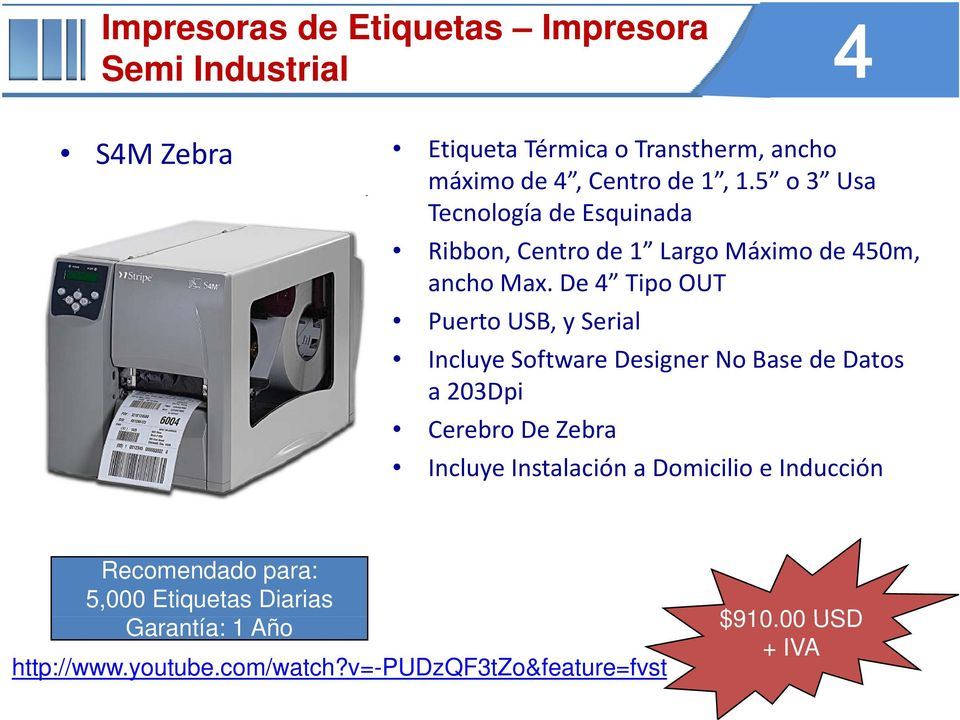 De 4 Tipo OUT Puerto USB, y Serial Incluye Software Designer No Base de Datos a 203Dpi Cerebro De Zebra Incluye