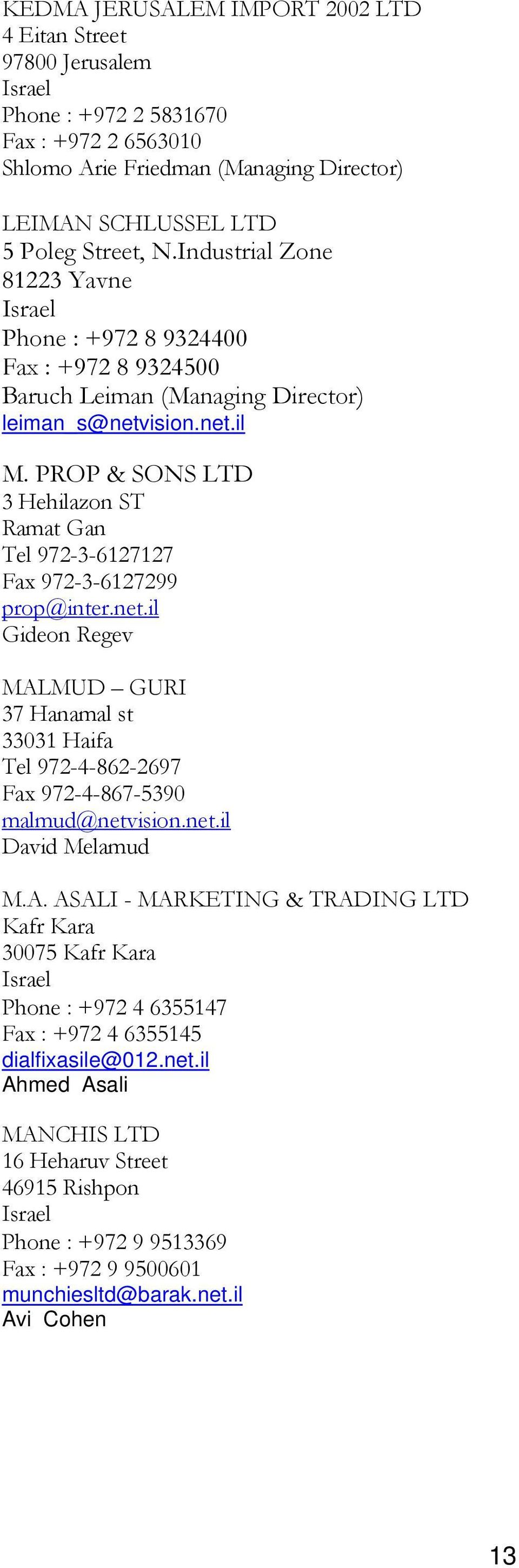 PROP & SONS LTD 3 Hehilazon ST Ramat Gan Tel 972-3-6127127 Fax 972-3-6127299 prop@inter.net.