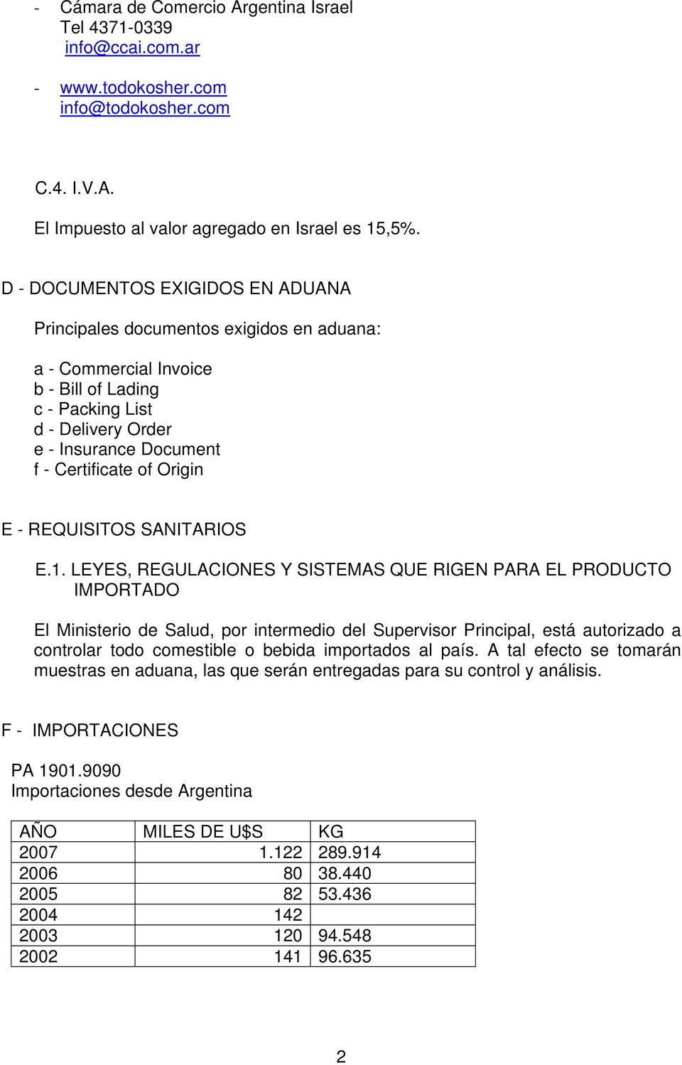 Origin E - REQUISITOS SANITARIOS E.1.