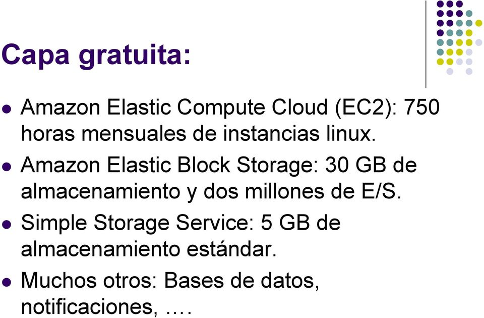 Amazon Elastic Block Storage: 30 GB de almacenamiento y dos