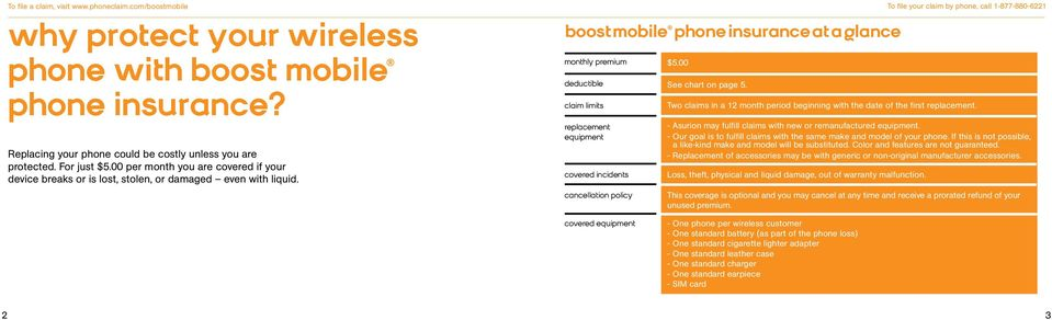 boost mobile phone insurance at a glance monthly premium deductible claim limits replacement equipment covered incidents cancellation policy $5.00 See chart on page 5.