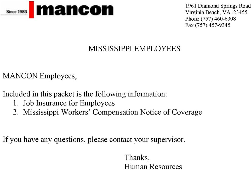 following information: 1. Job Insurance for Employees 2.