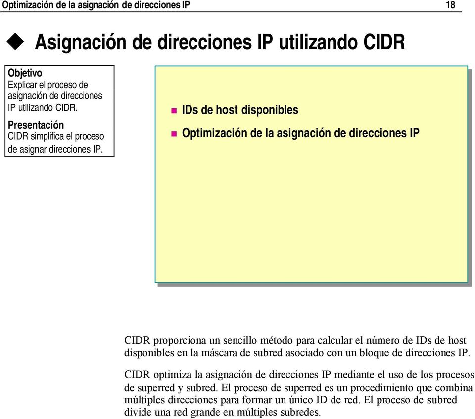 IDs de host disponibles Optimización de la asignación de direcciones IP *****************************illegal for non-trainer use****************************** CIDR proporciona un sencillo método para