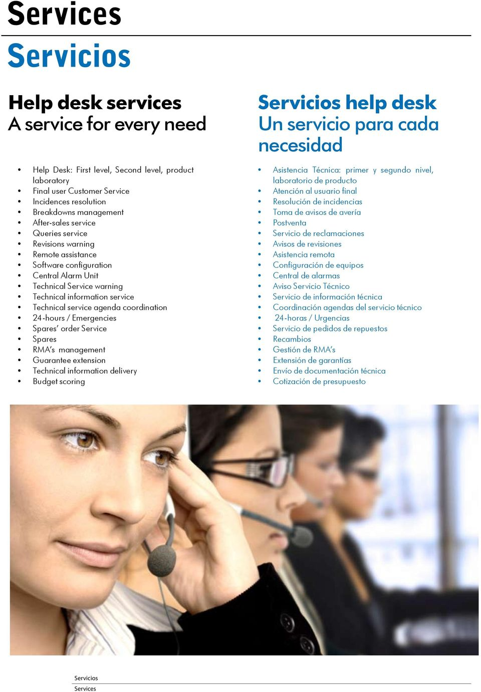 coordination 24-hours / Emergencies Spares order Service Spares RMA s management Guarantee extension Technical information delivery Budget scoring Servicios help desk Un servicio para cada necesidad