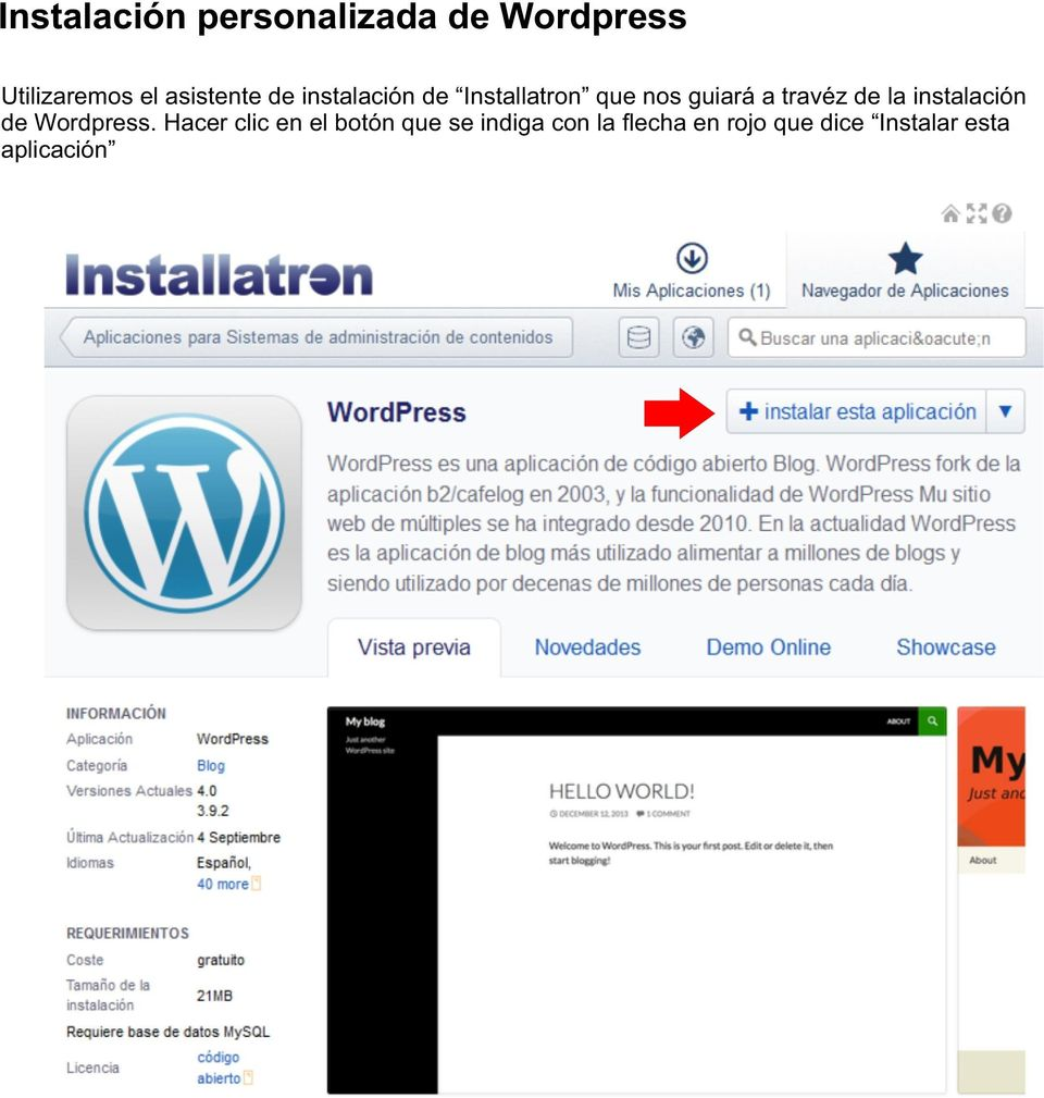 travéz de la instalación de Wordpress.