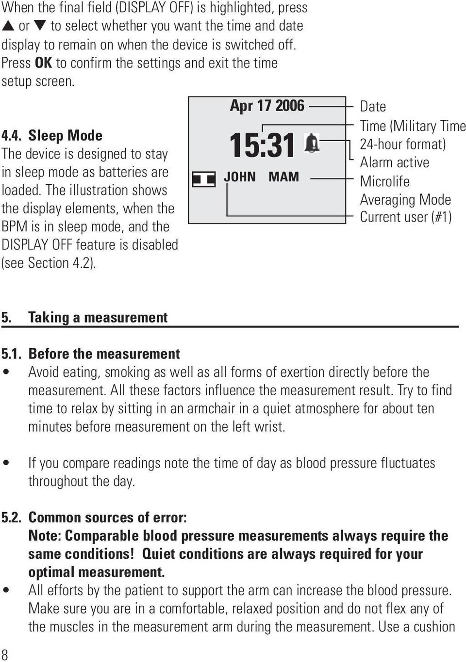 The illustration shows the display elements, when the BPM is in sleep mode, and the DISPLAY OFF feature is disabled (see Section 4.2).